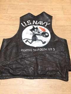 Vintage Felix Cat Leather Vest