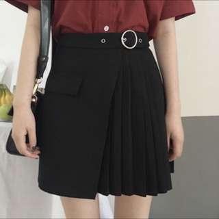 黑色百褶個性裙