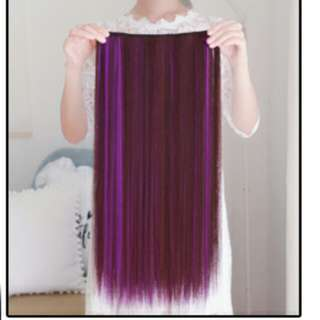 Purple dip dye two tone clip on straight hair extension *Brand new in package*pm if int