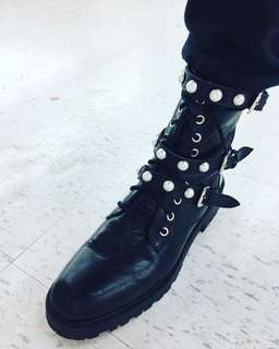 Zara Leather Combat Boots With Faux Pearls