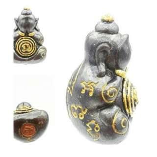 Phra Pidta Na No Mo Lp Eaum Lucky Talisman Keep Protection Metta Maha Niyom Occult Sorcery - Wrapped with water proof GOLD & BLACK Casing