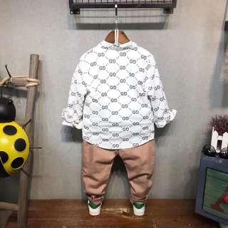 纯棉磨毛韓版小格子印花潮流恤衫尺碼上衣5-7-11碼,標準身高95-105-125厘米