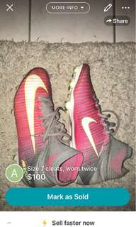 Cleats size 7 (real mercurial)