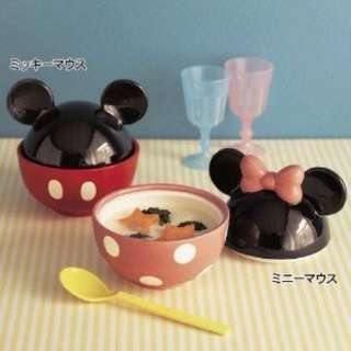 日本迪士尼 造型陶瓷碗 飯碗 湯碗 附蓋子 米妮款