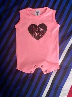 Neon pink baby girl romper