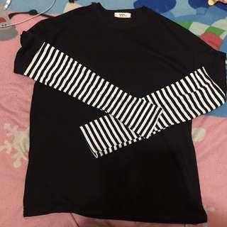 韓國韓版女裝 黑白條文過袖上衣 oversize