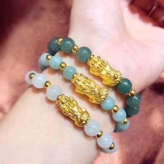 天然翡翠襯硬金貔貅手鍊