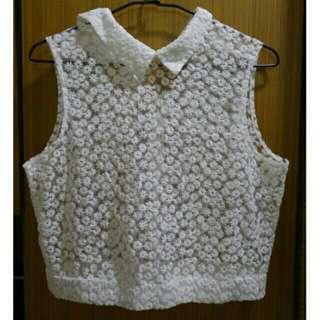 🚚 PAZZO 鏤空刺繡類蕾絲上衣
