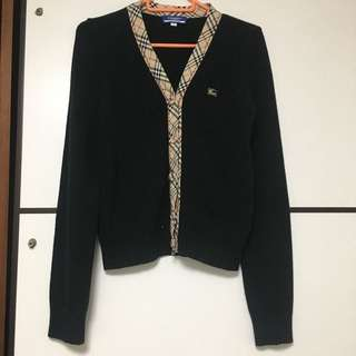 日本製 Burberry blue label 黑色拼格子外套 cardigan