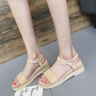 Open-toed wedge sandals female Korean version of the wild thick platform student shoes shoes buckle Roman shoes