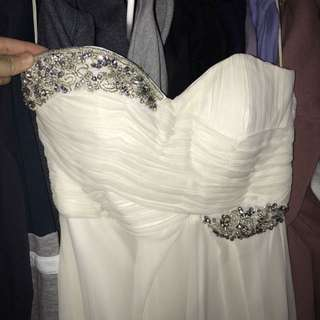 White strapless prom dress