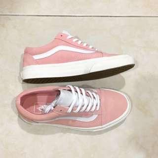 (降)Vans old skool vintage 粉色 櫻花粉 淡粉紅 麂皮 基本款 白鞋舌 近全新 24cm