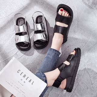 Harajuku Style Open Toe Sandals Shoes Velcro Student Platform shoes Casual Thick-soled beach shoes