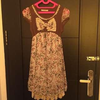 Korean Dress Moting Bunga dan Daun (ada pita)