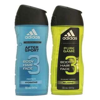 🚚 英國進口 Adidas 3合1 (臉部,身體,頭髮) 沐浴乳 放鬆款/保濕款 250 ml