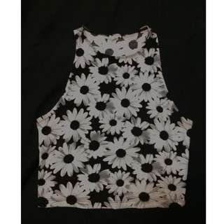 PRICE DROP! Black and White Daisy Crop Top