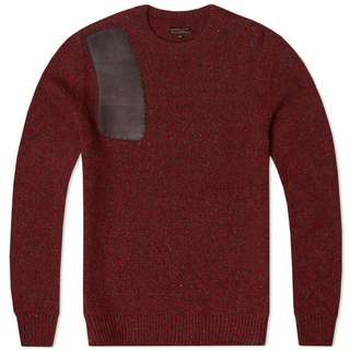 Barbour red sweater leather patch shoulder , 100%new.
