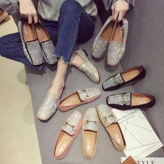 Spring single shoes female 2018 new Korean retro square head flat shoes wild rhinestone set foot scoop shoes shoes shoes tide