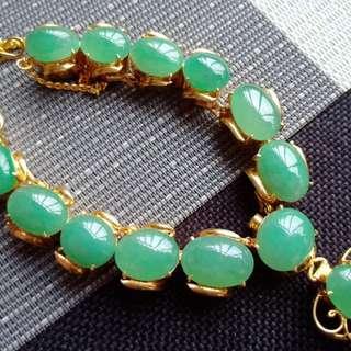 翡翠A貨有種有色滿色滿綠託銅項鍊特價包郵順豐不議不退,配送證書,編號0512