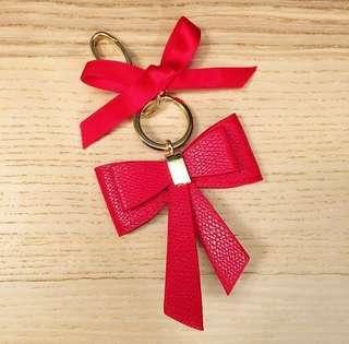 H&M Red Bow Key Ring 紅色蝴蝶結 金扣 鎖匙扣 掛飾 * (W)6.8cm x (H)7.5cm(淨蝴蝶結)