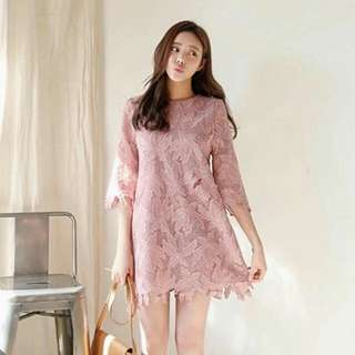 Sleeved Pink Lace Formal Dress