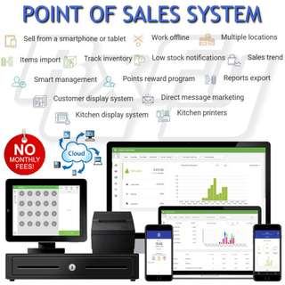 Point of Sale POS System - Mobile Tablet iPad iPhone iOS Android, Offline & Cloud-based, Easy Accounting, Receipt Printer Cash Drawer Barcode Scanner Kitchen Restaurant Cafe Retail Shop Business Analytics Staff Inventory Sales Management