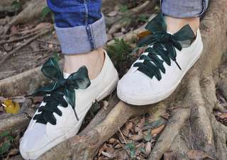 Organza Ribbon Shoelaces (Forest Green)