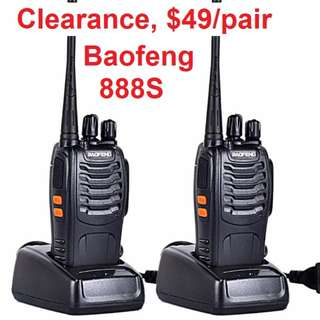 💥$49/pair! 💥 Clearance SALE!!! Twin pack (two radios) New Black BaoFeng BF-888S Walkie Talkie UHF: 400-470MHz Two Way Radio