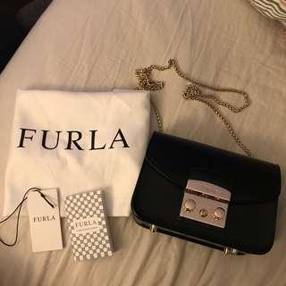 100% Authentic Furla Metropolis Mini Crossbody Bag Black