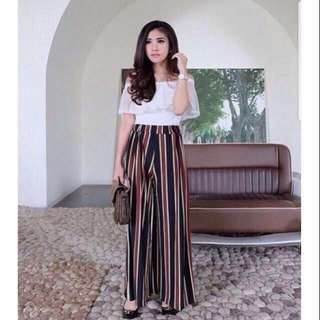 MANGO STRIPE KULOT PANTS