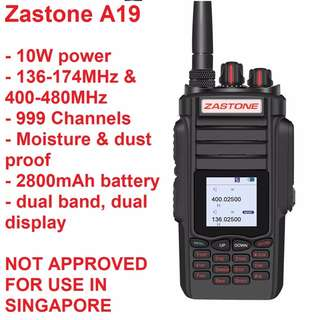 Military quality, extra long range, 10W Dual Band Zastone A19 Walkie Talkie UHF 400-480MHz/ VHF 136-174MHz 2800mAh Dual PTT Two Way Radio Communicator Transceiver