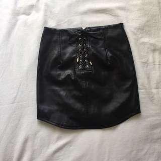 (rtp $36) THE EDITOR'S MARKET black leather shoelace skirt (BNWOT)