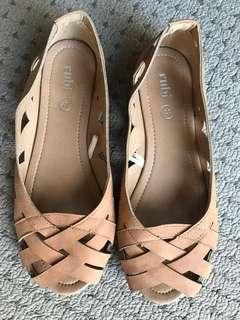 Tan flats size 6 new