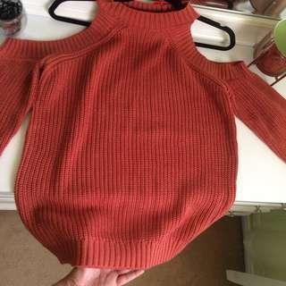 Rust orange cold shoulder sweater