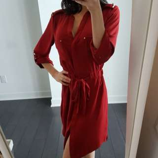 Deep red shirtdress from Dynamite. size xsmall