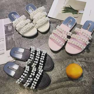 2018 pearl sandals wild wear three words with sandals and slippers