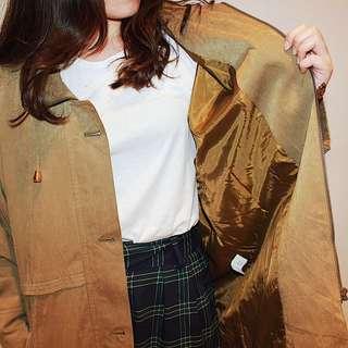 Apricot ✼土黃綠立領風衣 ✼ 棕橄欖色 大金扣 領抽繩 寬鬆中長款 拉鍊外套 日本古着Vintage