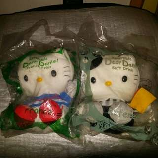 Hello Kitty 毛公仔 麥當勞2002年世界盃紀念版 2隻 如買1隻30元