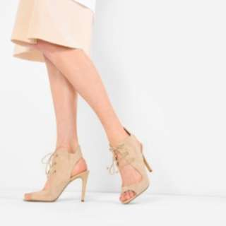 Charles & Keith Collections Nude lace up Heels