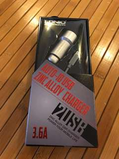 BNIB LDNIO Zinc Alloy 2 USB charger for car