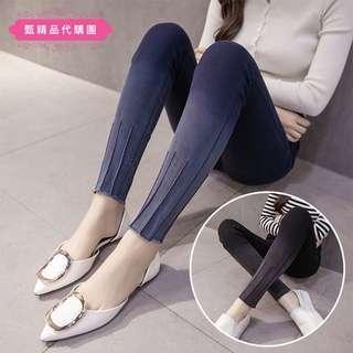 春款中大尺碼棉花糖女孩漸層色牛仔長褲彈力修身顯瘦小腳褲