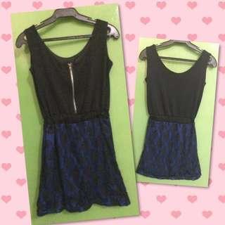 Preloved Black And Blue Dress