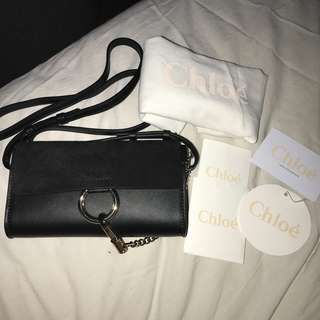 100% Authentic Chloe Black Faye Wallet Crossbody Bag Clutch