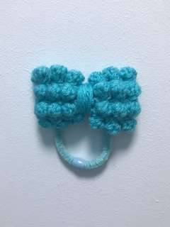 Handmade Turquoise Knotty Bow Hair Tie