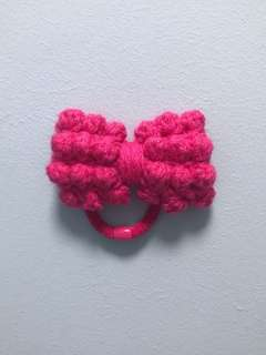 Handmade Fuscia Knotty Bow Hair Tie