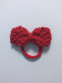 Handmade Crimson Bow Hair Tie