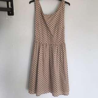 Beige And Navy Polka Dot Dress