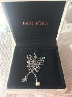 Pandora butterfly and pearl necklace