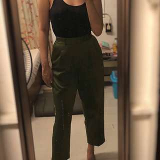 Olive green high waisted trousers