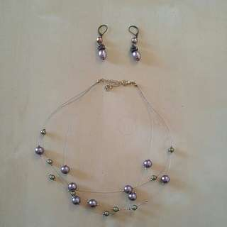 Purple multichain necklace